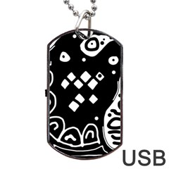 Black And White High Art Abstraction Dog Tag Usb Flash (one Side) by Valentinaart