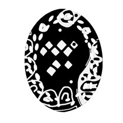 Black And White High Art Abstraction Ornament (oval Filigree)  by Valentinaart