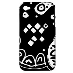 Black And White High Art Abstraction Apple Iphone 4/4s Hardshell Case (pc+silicone) by Valentinaart