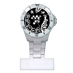 Black And White High Art Abstraction Plastic Nurses Watch by Valentinaart
