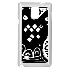 Black And White High Art Abstraction Samsung Galaxy Note 4 Case (white) by Valentinaart