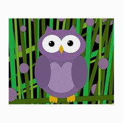 Purple Owl Small Glasses Cloth by Valentinaart