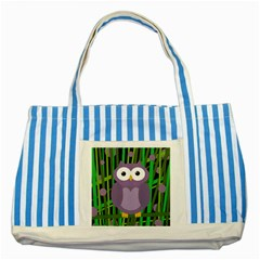Purple Owl Striped Blue Tote Bag by Valentinaart