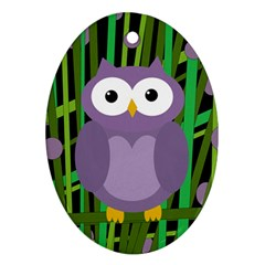 Purple Owl Oval Ornament (two Sides) by Valentinaart