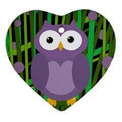 Purple Owl Heart Ornament (2 Sides) by Valentinaart