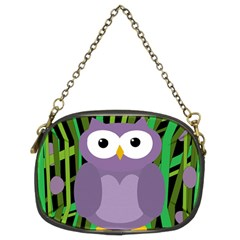 Purple Owl Chain Purses (two Sides)  by Valentinaart