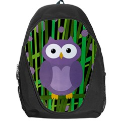 Purple Owl Backpack Bag by Valentinaart