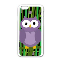 Purple Owl Apple Iphone 6/6s White Enamel Case by Valentinaart