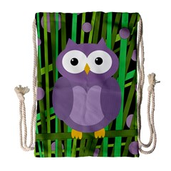 Purple Owl Drawstring Bag (large) by Valentinaart