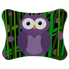 Purple Owl Jigsaw Puzzle Photo Stand (bow) by Valentinaart