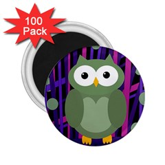 Green And Purple Owl 2 25  Magnets (100 Pack)  by Valentinaart