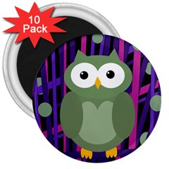 Green And Purple Owl 3  Magnets (10 Pack)  by Valentinaart