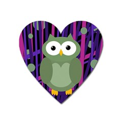 Green And Purple Owl Heart Magnet by Valentinaart