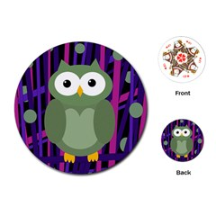 Green And Purple Owl Playing Cards (round)  by Valentinaart
