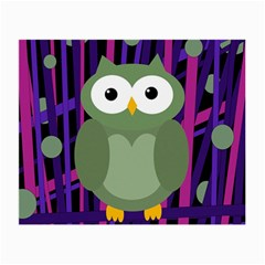 Green And Purple Owl Small Glasses Cloth (2 Side) by Valentinaart