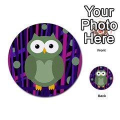 Green And Purple Owl Multi Purpose Cards (round)  by Valentinaart