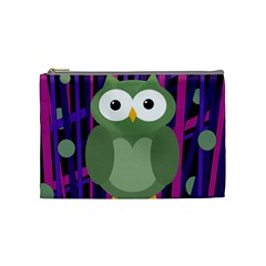 Green And Purple Owl Cosmetic Bag (medium)  by Valentinaart