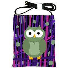Green And Purple Owl Shoulder Sling Bags by Valentinaart