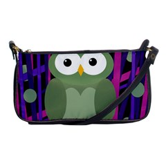 Green And Purple Owl Shoulder Clutch Bags by Valentinaart