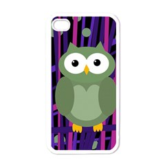 Green And Purple Owl Apple Iphone 4 Case (white) by Valentinaart