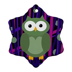 Green And Purple Owl Snowflake Ornament (2 Side) by Valentinaart