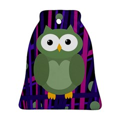 Green And Purple Owl Bell Ornament (2 Sides) by Valentinaart