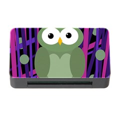 Green And Purple Owl Memory Card Reader With Cf by Valentinaart
