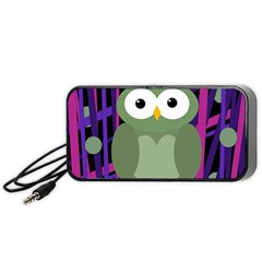 Green And Purple Owl Portable Speaker (black)  by Valentinaart