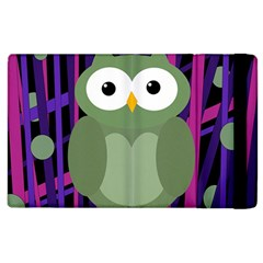 Green And Purple Owl Apple Ipad 2 Flip Case by Valentinaart