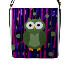 Green And Purple Owl Flap Messenger Bag (l)  by Valentinaart