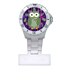 Green And Purple Owl Plastic Nurses Watch by Valentinaart