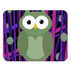 Green And Purple Owl Double Sided Flano Blanket (large)  by Valentinaart