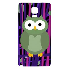 Green And Purple Owl Galaxy Note 4 Back Case by Valentinaart