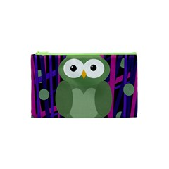 Green And Purple Owl Cosmetic Bag (xs) by Valentinaart