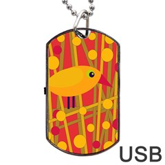 Yellow Bird Dog Tag Usb Flash (two Sides)  by Valentinaart