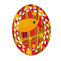 Yellow Bird Ornament (oval Filigree)  by Valentinaart