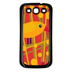 Yellow Bird Samsung Galaxy S3 Back Case (black) by Valentinaart