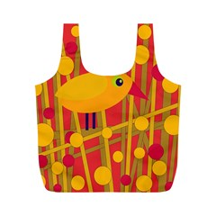 Yellow Bird Full Print Recycle Bags (m)  by Valentinaart