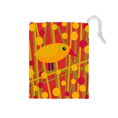 Yellow Bird Drawstring Pouches (medium)  by Valentinaart