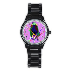 Pink Artistic Abstraction Stainless Steel Round Watch by Valentinaart