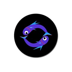 Blue Fishes Magnet 3  (round) by Valentinaart