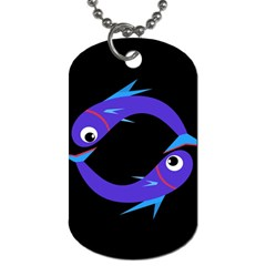 Blue Fishes Dog Tag (two Sides) by Valentinaart