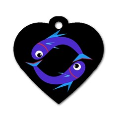 Blue Fishes Dog Tag Heart (one Side) by Valentinaart