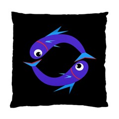 Blue Fishes Standard Cushion Case (one Side) by Valentinaart
