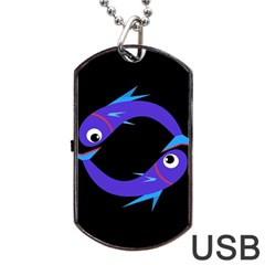 Blue Fishes Dog Tag Usb Flash (two Sides)  by Valentinaart