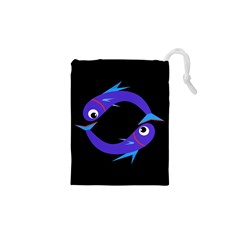 Blue Fishes Drawstring Pouches (xs)  by Valentinaart