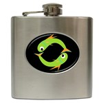 Green fishes Hip Flask (6 oz) Front