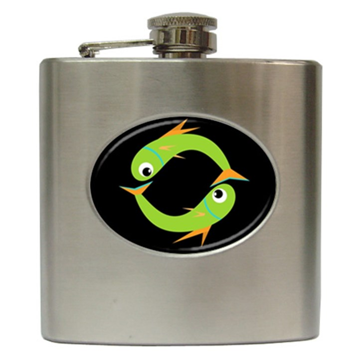 Green fishes Hip Flask (6 oz)
