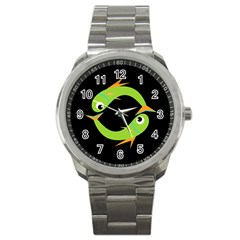 Green Fishes Sport Metal Watch by Valentinaart