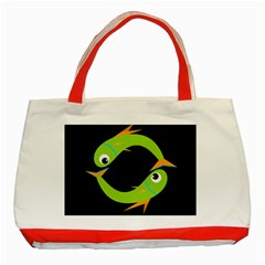 Green Fishes Classic Tote Bag (red) by Valentinaart